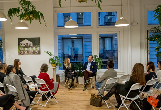 Image of Jamison Monroe and Gabby Bernstein speaking at a Newport Digital Detox event in New York City.